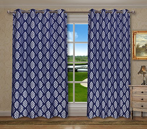 Cheap Pack of 2, CaliTime Grommets Window Curtains Panels for Bedroom, Each Panel 55 X 84 Inches, Total 110 X 84 Inches, Vintage Damask Floral Geometric, Navy Blue