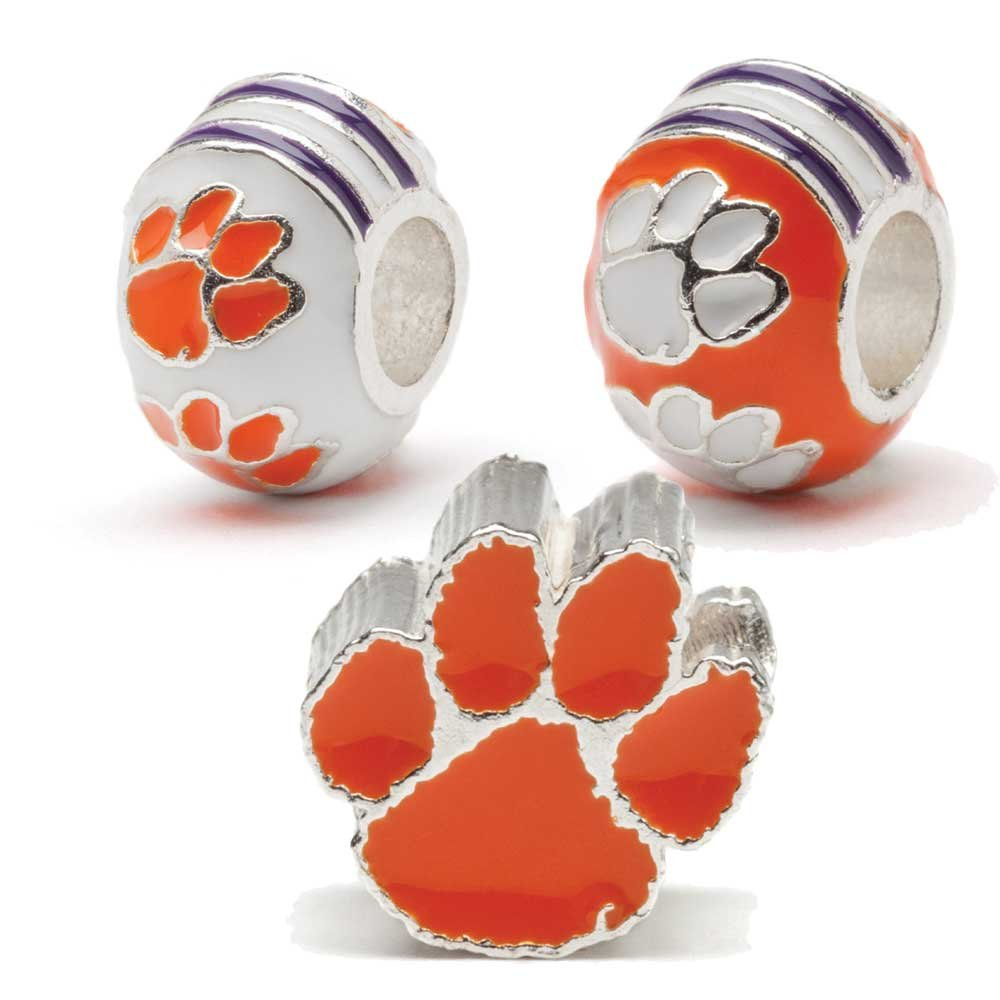 Clemson University Bead Charms | Set of Three Clemson Charms | Clemson Tigers Gift | Officially Licensed Clemson University Jewelry | Stainless Steel | Fits Most Popular Charm Bracelets