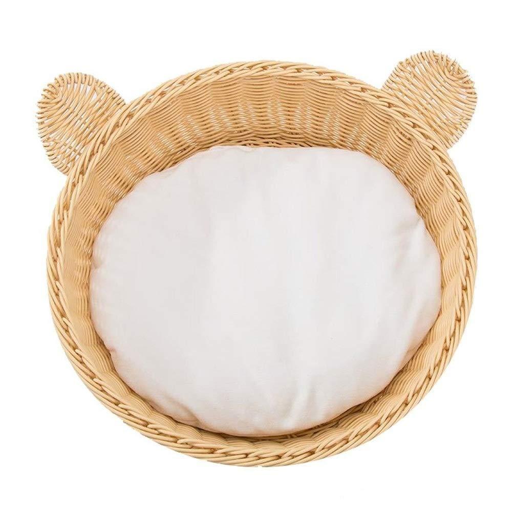 Chunchun Hound Comfort Bed, Yellow Bear Ear Shape Rattan Cat Litter Closed Cat House Kennel (Gift Cotton Mat) (Size : 42x18cm) by Chunchun
