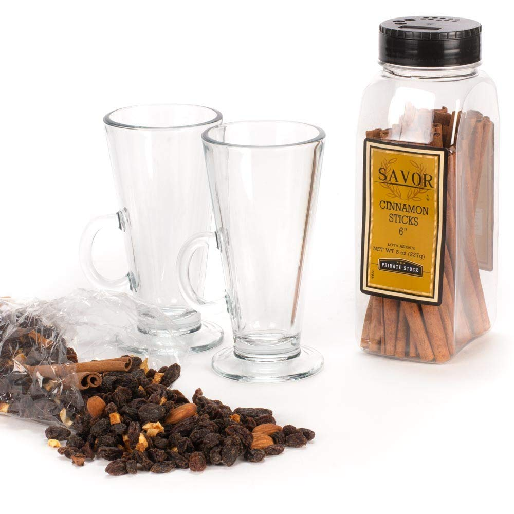 Glogg Mulled Wine Gift Set - Includes 2 Glasses, Mulling Spices & Cinnamon Sticks