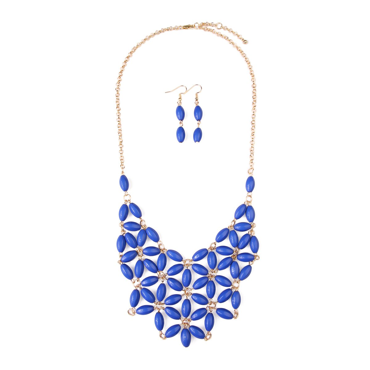 MYS Collection RIAH Fashion Floral Pattern Beaded Bubble Statement Bib Necklace - Tessellate Net Bead Fashion Statement Jewelry for Women (Sapphire)