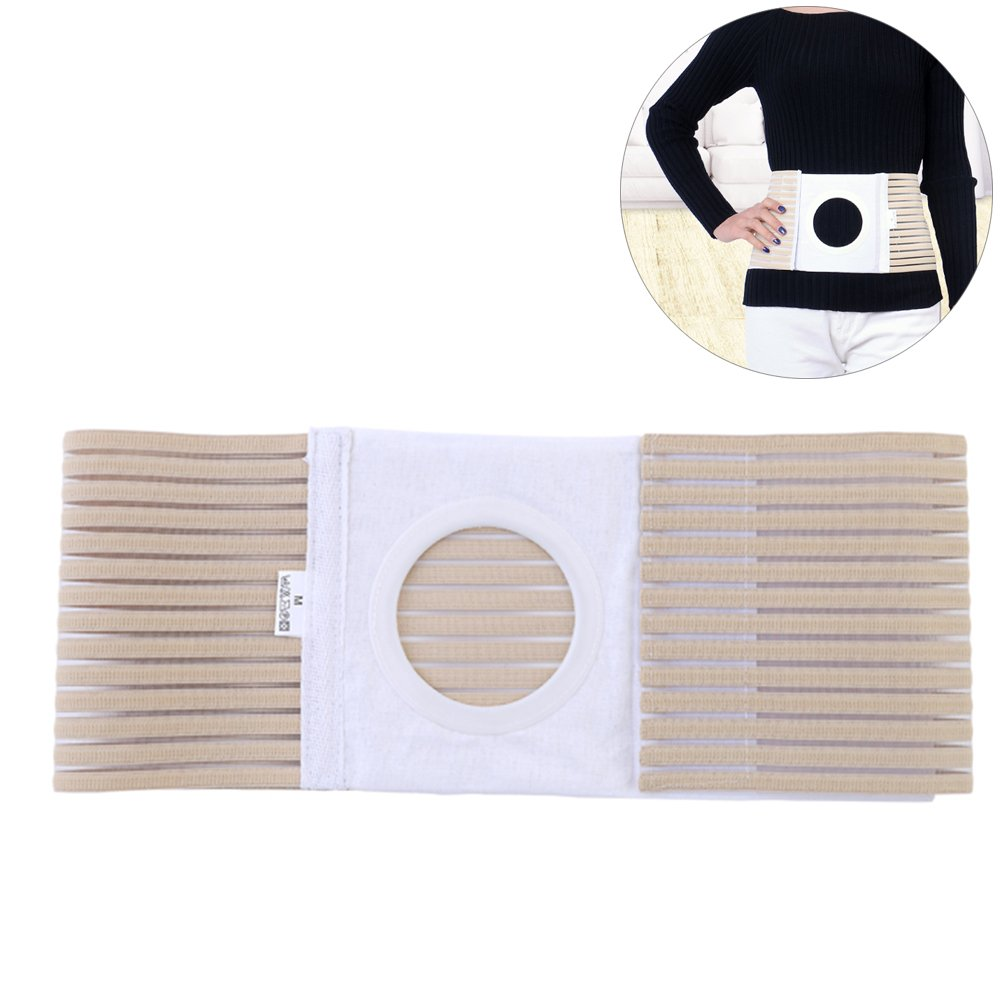 Ibnotuiy Elastic Medical Ostomy Belt Hernia Support Belts for Waist Abdominal with Stoma Opening 3.15 inch Hole (XL)