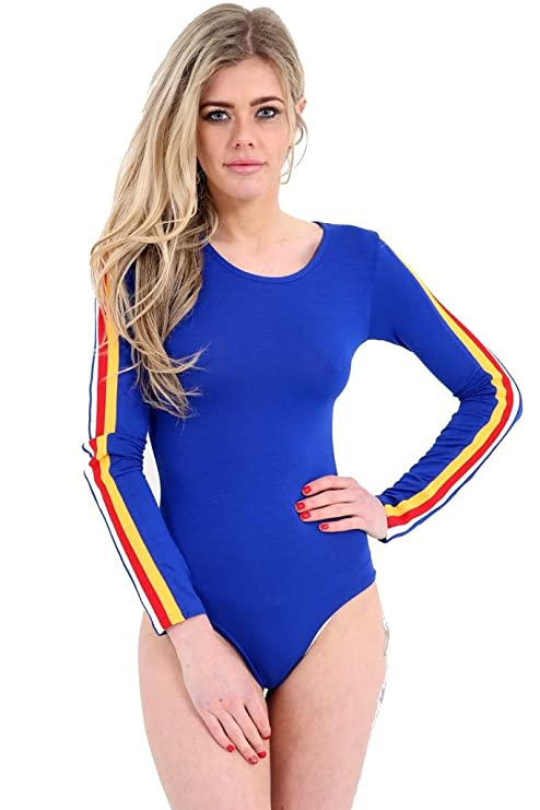 70s Workout Clothes | 80s Tracksuits, Running Shorts, Leotards GirlzWalk Womens Ladies Red White and Yellow Stripes Sleeve Round Neck Long Sleeve Bodysuit Leotard Top $10.49 AT vintagedancer.com