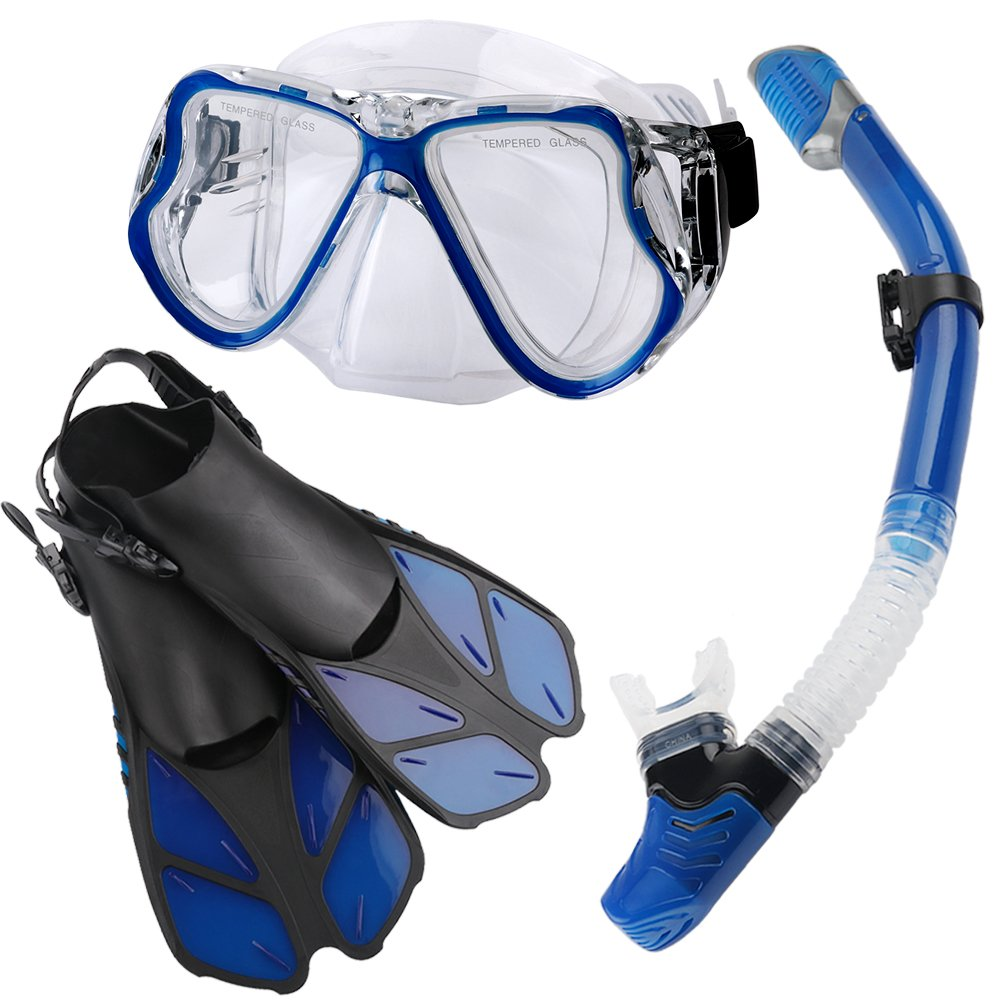 Zentouch Snorkel Set, Diving Mask with Easy Ajustable Strap 180° Panoramic View and Free Breathing Best Anti-Fog Anti-Leak Snorkel Mask for Adults and Kids by Zentouch