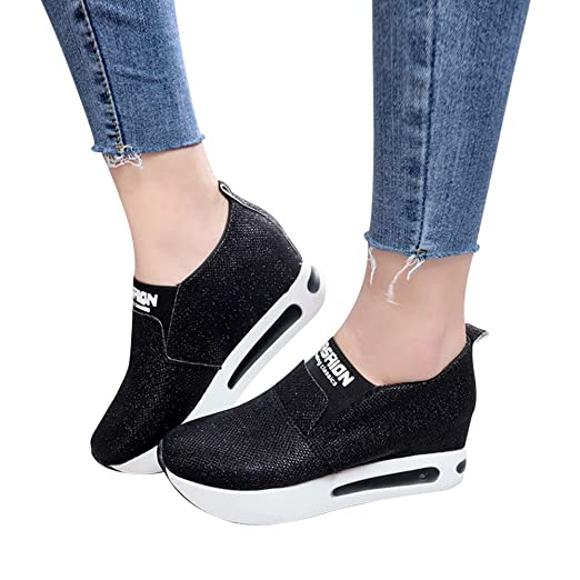 671f6362c0ddf Shoes For Womens -Clearance Sale ,Farjing Women Flat Thick Bottom Shoes  Slip On Ankle Boots Casual Platform Sport Shoes