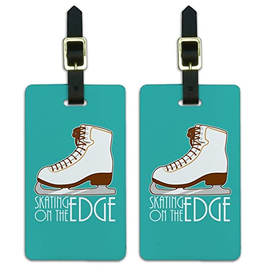 Ice Skates Figure Skating Living On The Edge Luggage ID Tags Cards Set Of 2
