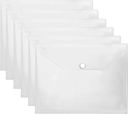 Carpeta portafolios A4 horizontal con cierre de presión, Pack de 20 Transparente: Amazon.es: Oficina y papelería