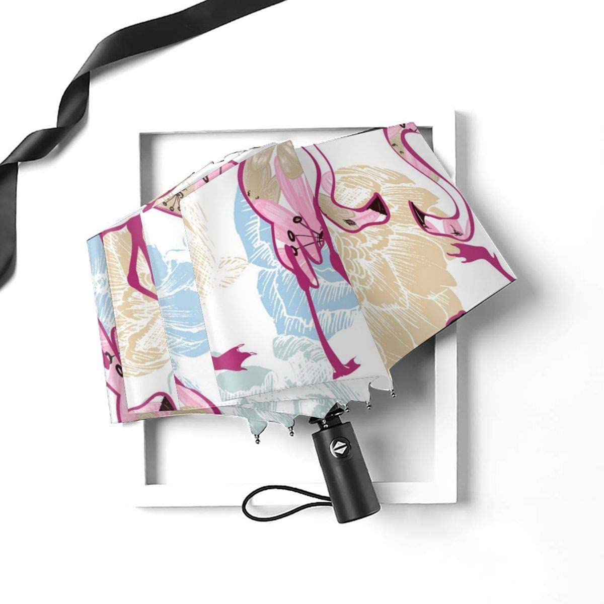 Exotic Seamless Pattern Flowers And Flamingos Compact Travel Umbrella Windproof Reinforced Canopy 8 Ribs Umbrella Auto Open And Close Button Customized