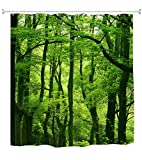 Goodbath Forest Tree Shower Curtain, Nature Theme Waterproof Mildew Resistant Polyester Fabric Bathroom Bath Curtains, 72 x 72 Inch, Green Brown