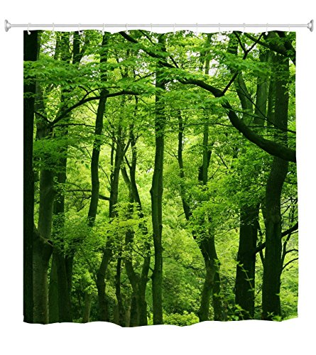 Goodbath Forest Tree Shower Curtain, Nature Theme Waterproof Polyester Fabric Bathroom Bath Curtains, 72 x 72 Inch, Green Brown