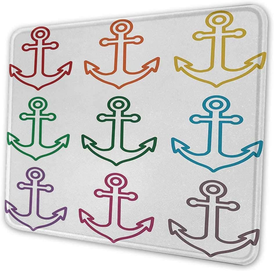 Anchor Office Mouse Pad Colorful Icons in Circular Design Nautical Maritime Theme Naval Sailboat Equipment Mouse Pad with Non-Slip Base Multicolor 8x10x0.08 inches
