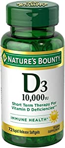Nature's Bounty D3-10,000 IU Softgels 72 ea (Pack of 4)