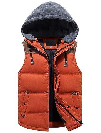 de23b865559 Men's Winter Vest Removable Hooded Quilted Warm Sleeveless Jacket Gilet  (Color : ORANGE, Size : S): Amazon.co.uk: Garden & Outdoors