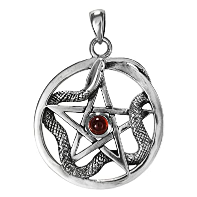 Amazon Sterling Silver Ouroboros Serpent Snake Pentacle With