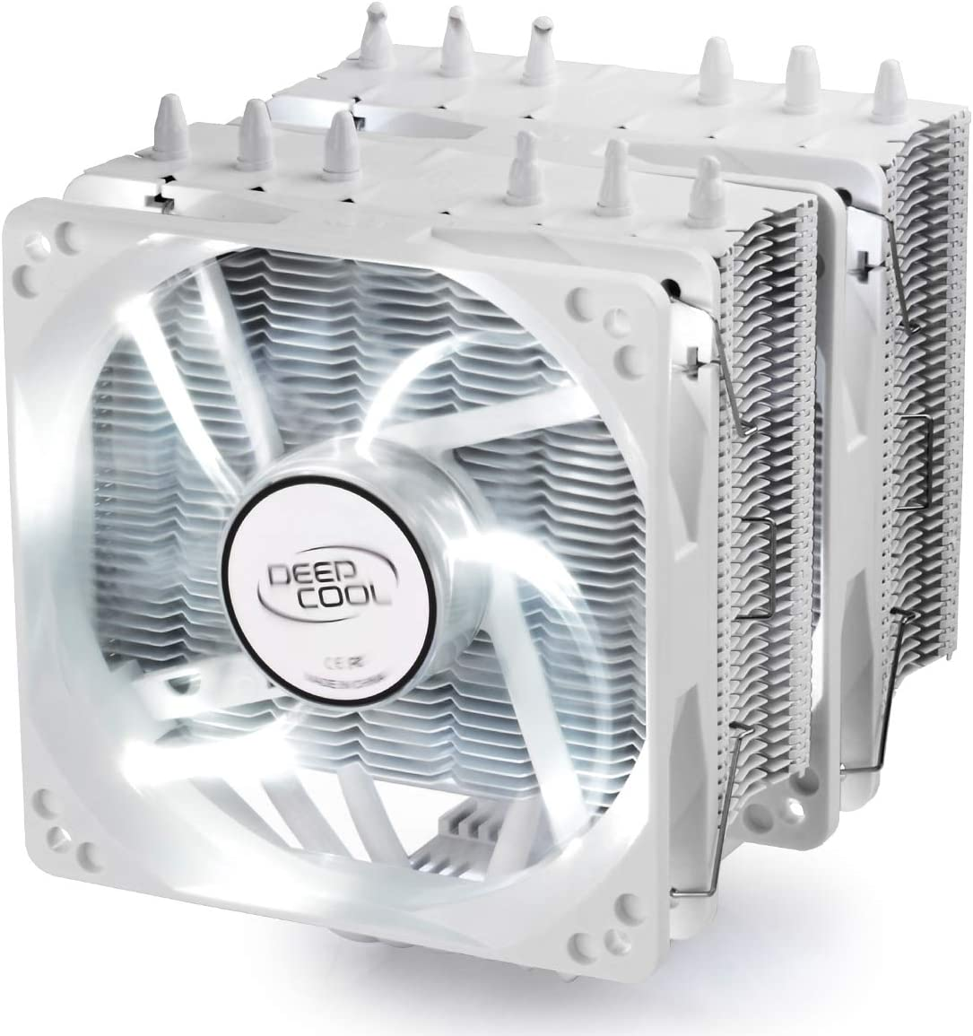 DEEP COOL NEPTWIN WH CPU Air Cooler Dual 120mm White LED Fans AM4 Compatible 6 Heatpipes Twin-Tower Heatsink
