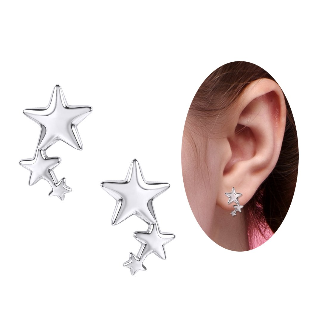 SILVERCUTE Star Stud Earrings Silver 925 Sterling Cute Girls Hypoallergenic Fine Jewelry (Stars)