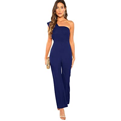 Milumia Women's Sleeveless One Shoulder Asymmetrical Neck Wide Leg High Waist Jumpsuit: Clothing