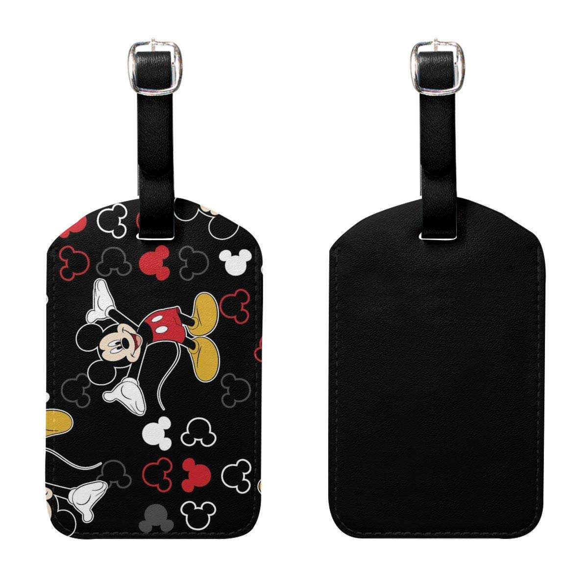 Set of 2 PU Leather Luggage Tags Mickey-Mouse-Black-Background Suitcase Labels Bag Adjustable Leather Strap Travel Accessories