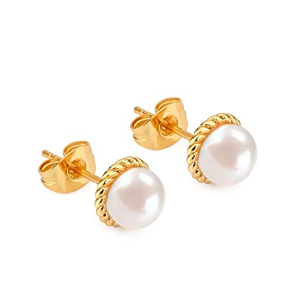9630d62eded06d Amazon.com: KAY BLEEKF Gold Pearl Stud Earrings, 18K Cubic Zirconia Stud  Earrings AAA+ Quality, Natural Freshwater Pearl Earrings for Woman  (VD-0003): Home ...