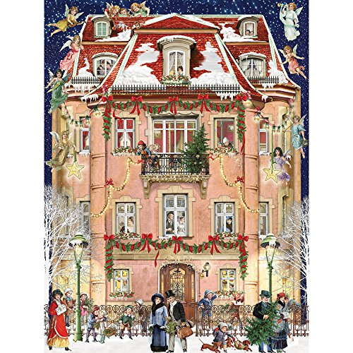 Bits and Pieces - 300 Piece Jigsaw Puzzle for Adults - Christmas House - 300 pc Winter Holiday Snow Jigsaw by Artist Barbara Behr