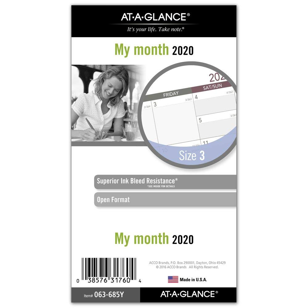"""AT-A-GLANCE 2020 Monthly Planner Refill, Day Runner, 3-3/4"""" x 6-3/4"""", Portable Size 3, Loose Leaf (063-685Y)"""