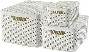 Curver Style Storage Box Set, Plastic, Cream, 7L/18L/30L
