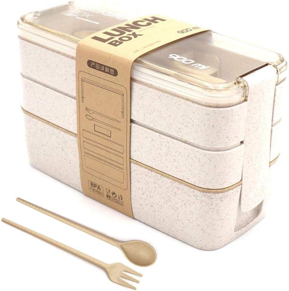 Bo/îte avec Fourchette et Cuill/ère Micro-ondable Paille de Bl/é 900ML 3 Couches sans BPA Bo/îte /à Lunch Empilable /Étanche pour Adultes et Plus Bento Box N//F Mousyee Lunch Box Beige