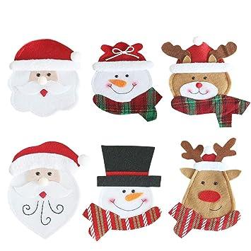 Mcgradyxm 2018 Nueva Bolsita para cubiertos, Decoración Navidad Bolsillos para Cubiertos, Papa Noel, Renos, Muñeco de Nieve para Adornos Navideños: ...
