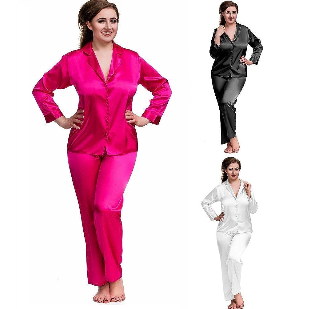 bc624191d2291 Nine X- Plus Size Lingerie S-6XL Satin Pyjamas Long Sleeve Nightwear Black  PJ's: Amazon.co.uk: Clothing