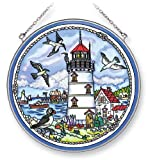 Amia 5321 Hand Painted Glass Lighthouse Suncatcher, 6-1/2-Inch Circle