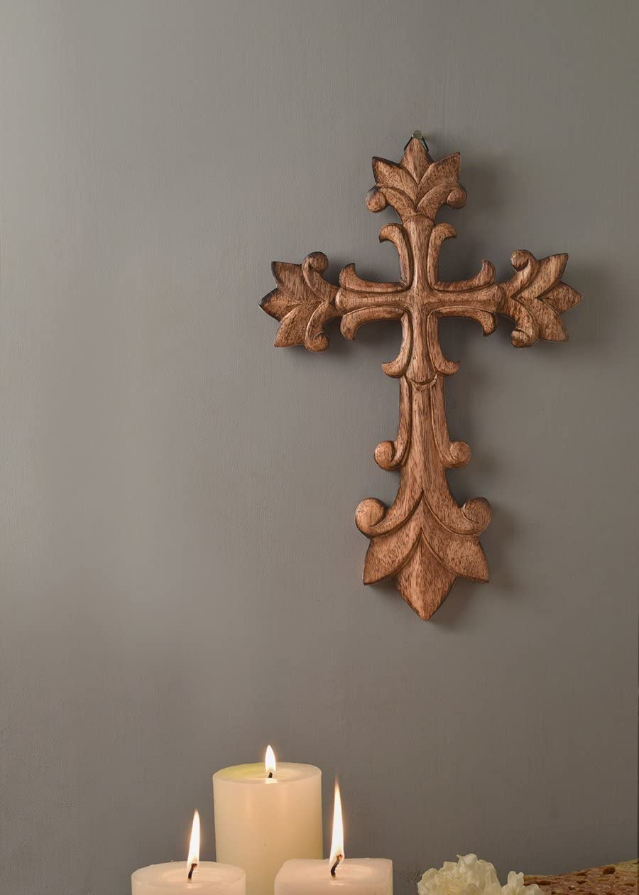 The StoreKing Wooden Wall Cross Plaque 12 Long Hanging with Hand Carvings Religious Altar Home Living Room Decor