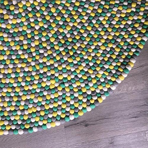 Felt ball rug - Yellow Mint green gray white nursery carpet bedroom decor - Pom pom rug for living room area rug - Baby rug playroom mat - Children's kids floor rugs ()