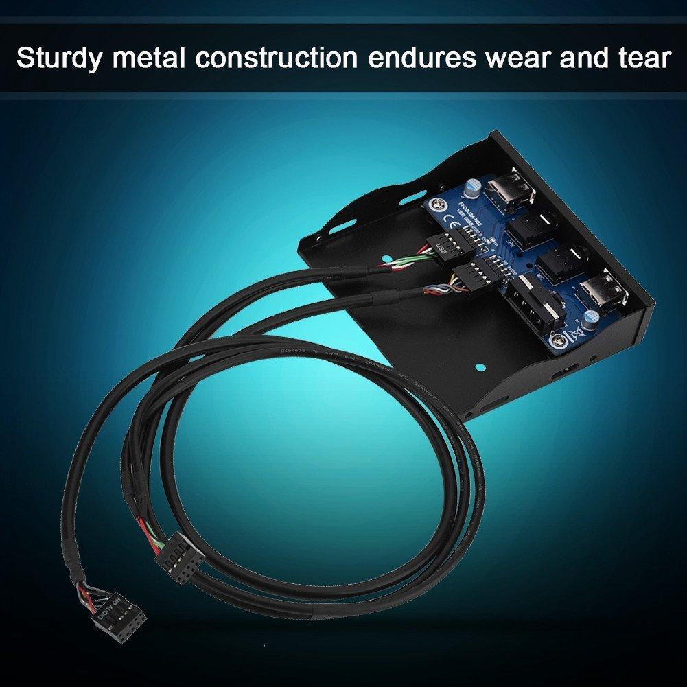 USB2.0 HD-AUDIO Pannello frontale floppy da 3,5 pollici 9Pin a 2 Interfaccia USB2.0 con microfono Audio Plug and Play Richer-R Pannello anteriore USB