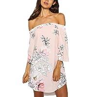 YOINS Sommerkleid Damen Kurz Strandkleider Schulterfrei Boho Off Shoulder Elegant Blumenmuster Partykleid