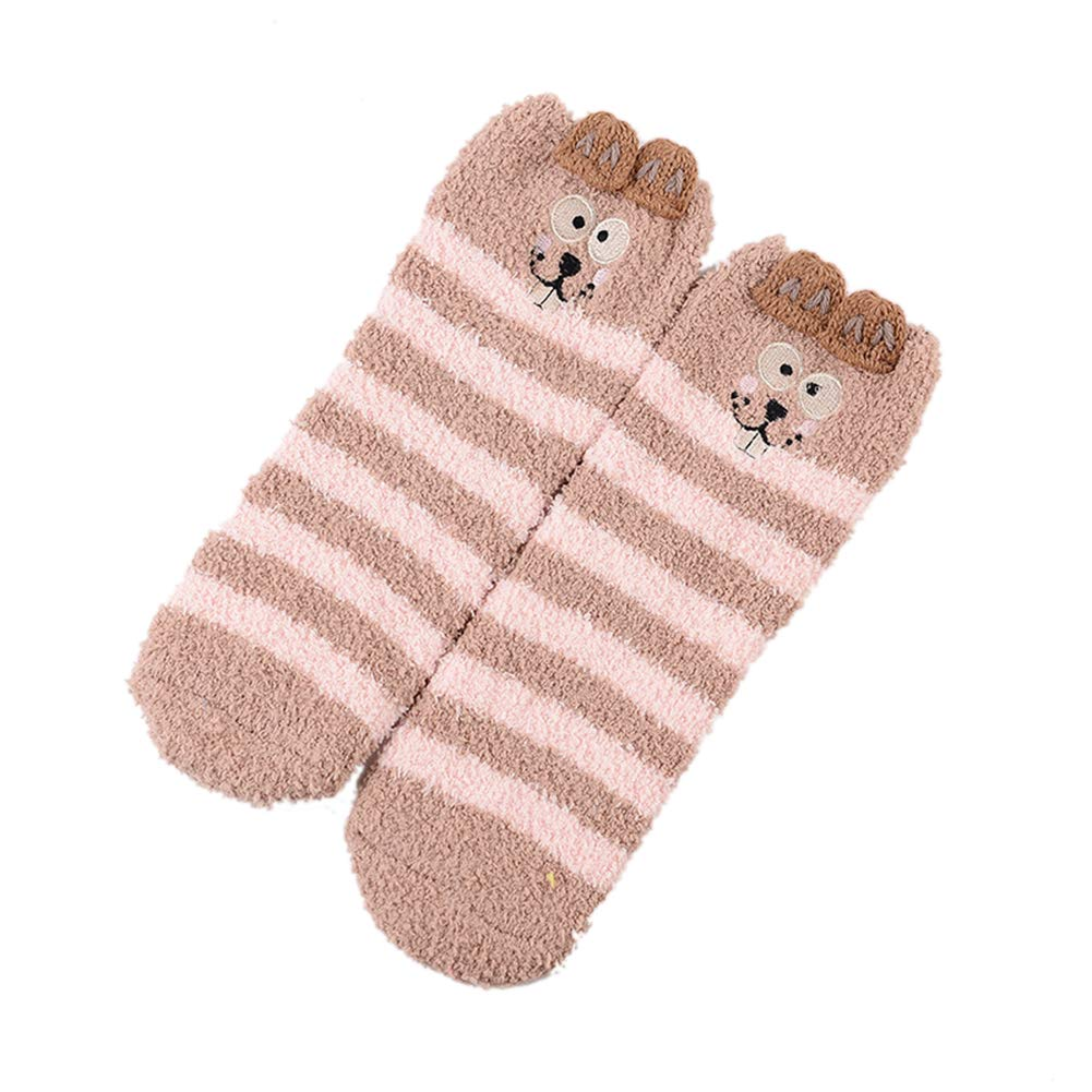 3 Pairs of Adult Womens Plush Thickening Thermal Socks Coral Velvet Socks 3D Cartoon Animal Floor Socks with Gift Box D C.Supernice Fashions Ltd
