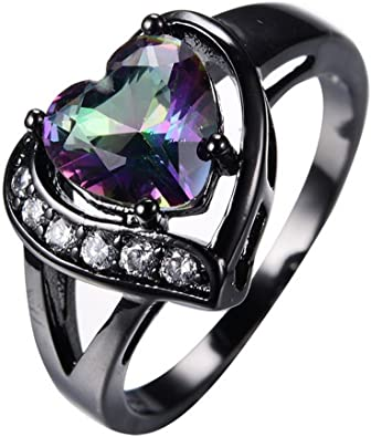 FT-Ring Fashion Purple Heart Zircon White Gold Filled Jewelry Vintage Ring For Women Wedding Rings