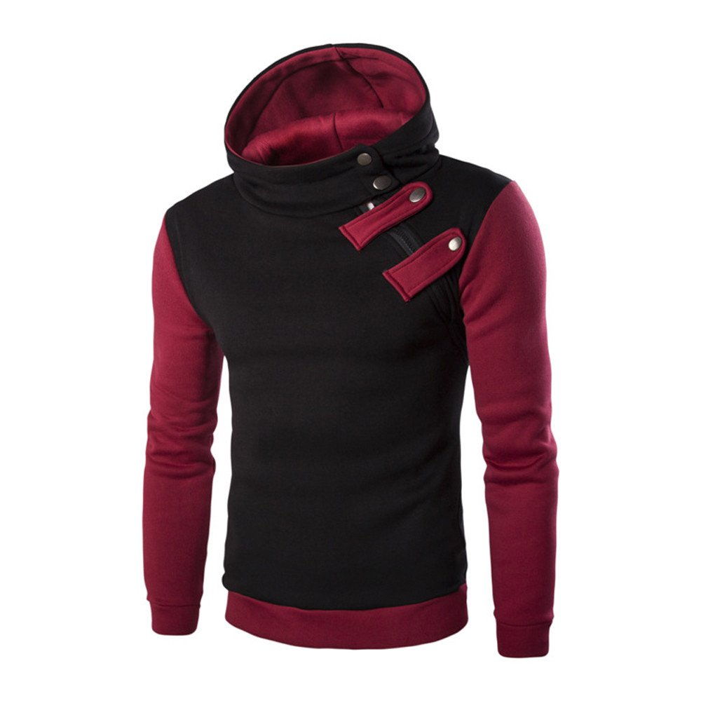 Clearance Sale! ! Charberry Mens Pullover Zip Hooded Sweater Long Sleeve Hoodie Hooded Tops Jacket Coat Outwear (US-S/CN-M, Gray) China