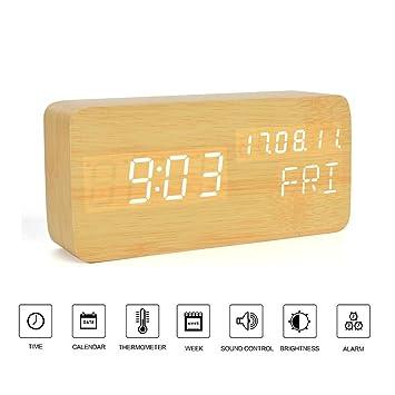 Reloj de escritorio de oficina- Despertador digital LED de madera Control de voz con Termómetro, Mejores regalos para amigos / familias , Madera,OOLIFENG: ...