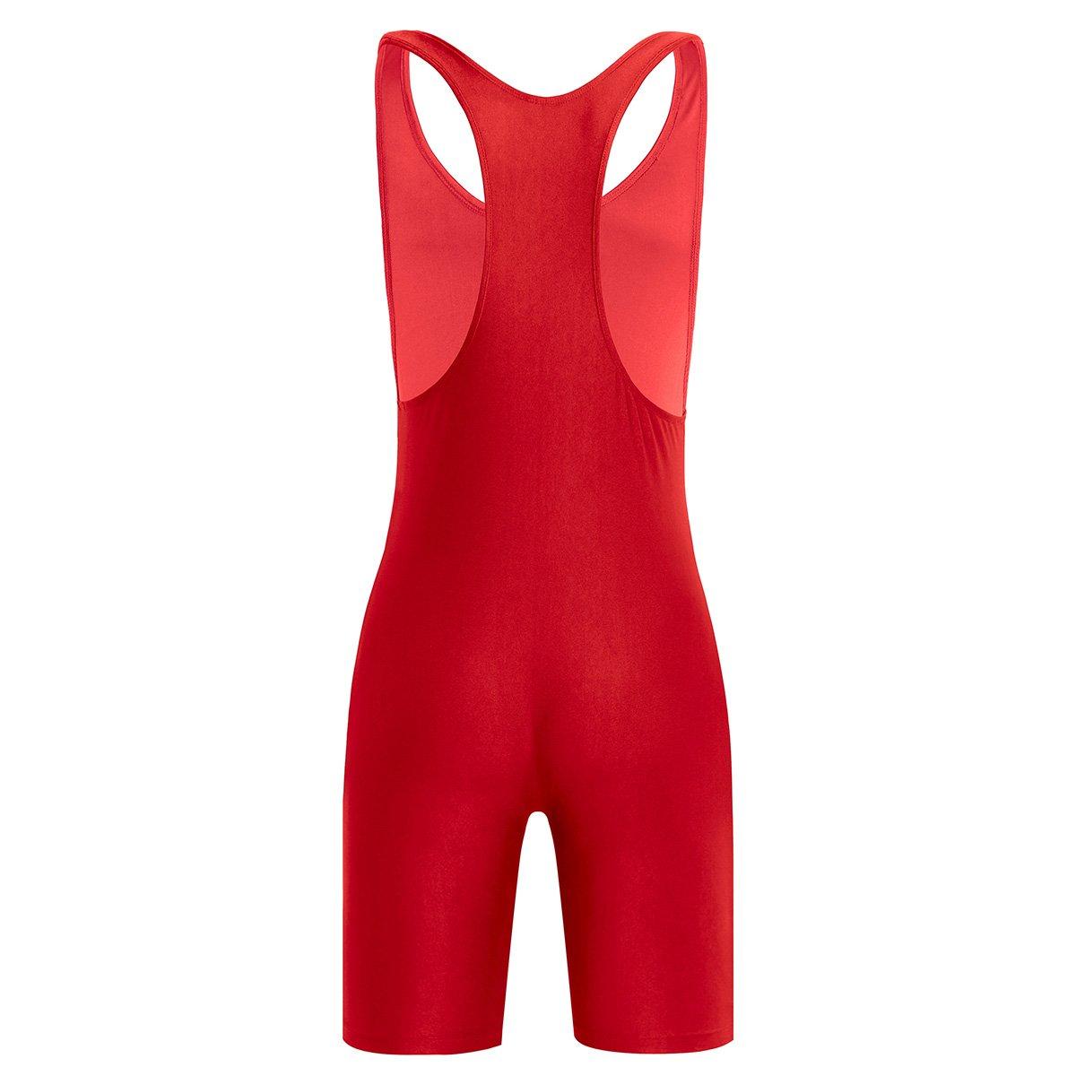 CHICTRY Mens Lycra Solid Modified Singlet Wrestling Bodysuit Underwear