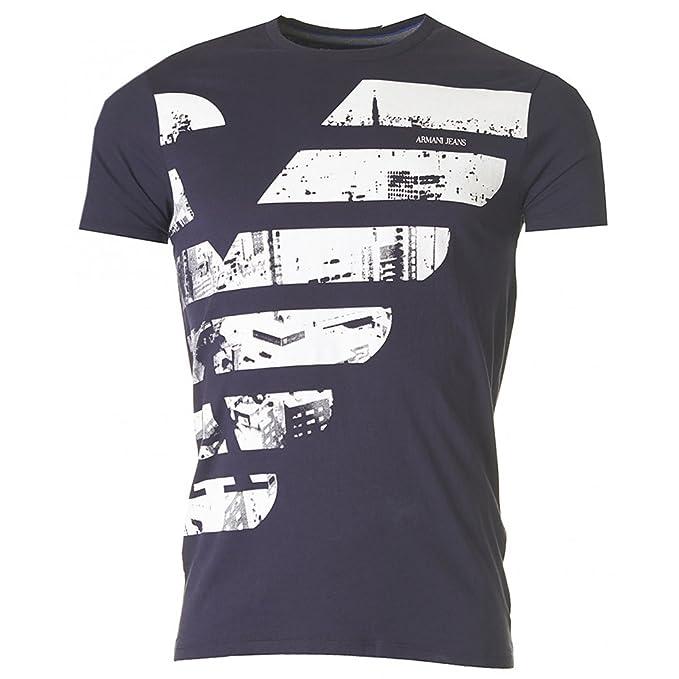 Armani Jeans – Camiseta Armani Jeans Marfil b6 a79ul Azul Marino 4X-Large