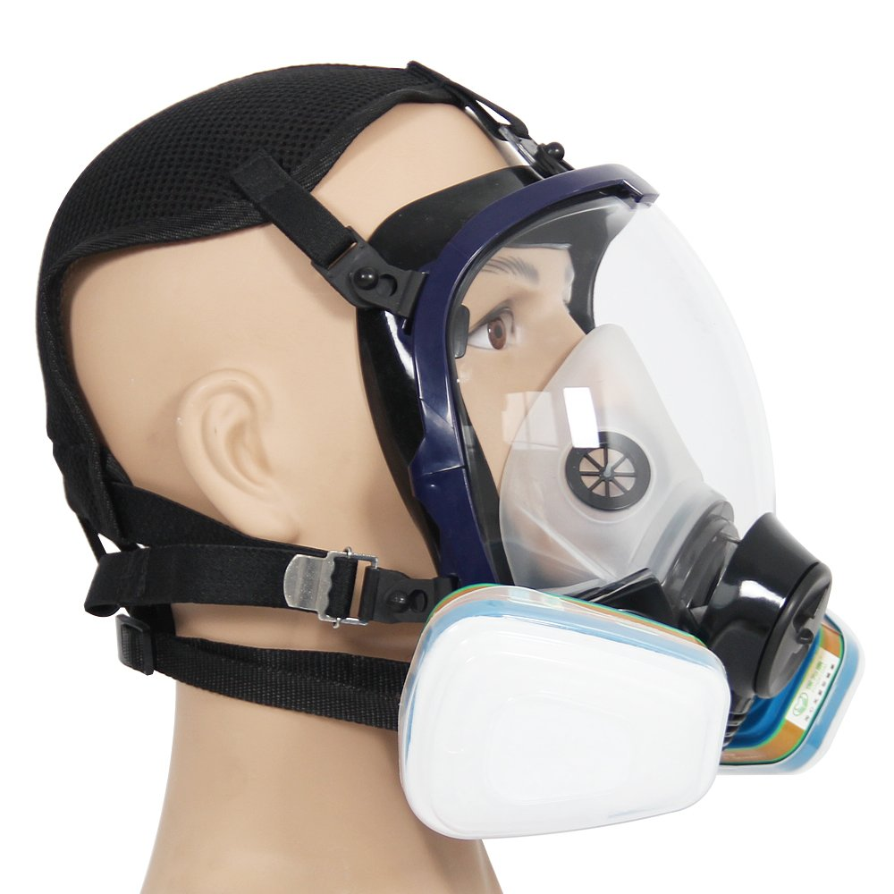 Complete Suit Trudsafe 6800 Painting Spraying Full Face Gas Chemical Mask Respirator, Dust Mask, 2 Kinds of Connectors, Good Tightness, Filters Included by Trudsafe (Image #3)