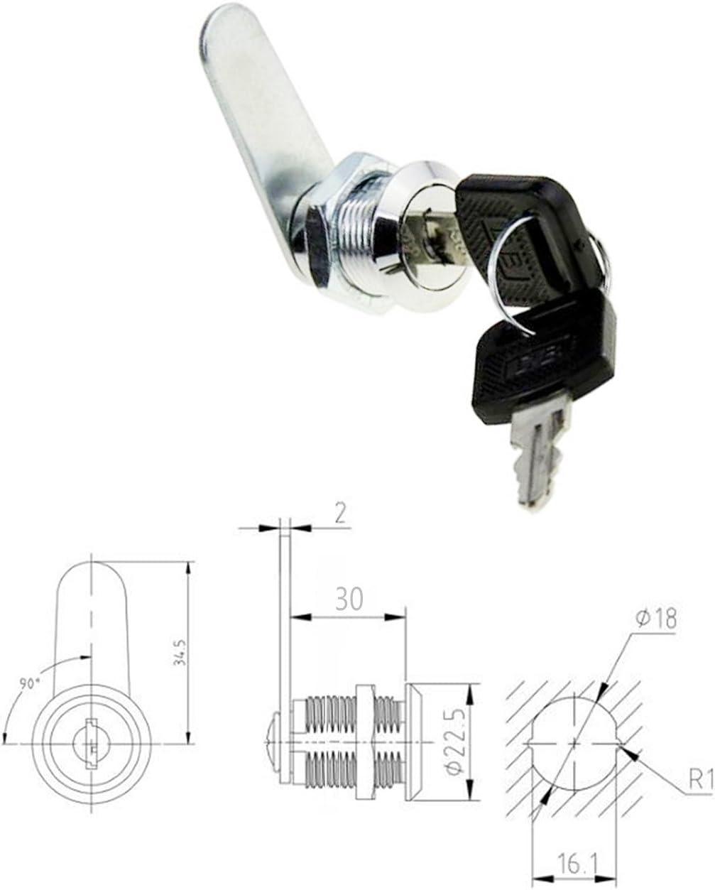 uooom Cam Lock Datei Schrank Schloss f/ür Mailbox Schublade Schrank mit Schl/üssel T 38mm