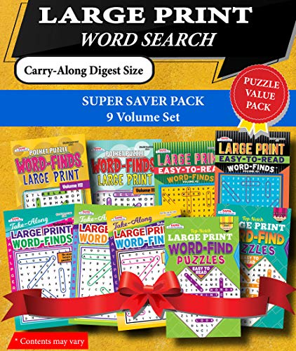 - KAPPA Super Saver LARGE PRINT Word Search Puzzle Pack-Set of 9 Carry-Along Digest Size Books