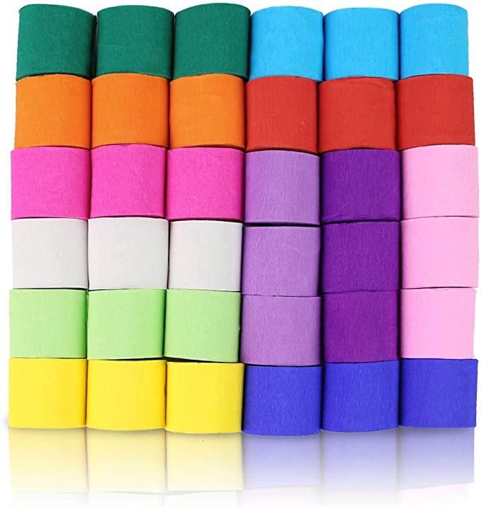 Koogel 36 Rollos De Papel Crepé 12 Colores Rainbow Streamers Streamer Rollo De Papel Cada Color 147 Pies De Largo Para Decoración De Fiesta Familia Reunión De Graduación Cinco De Mayo