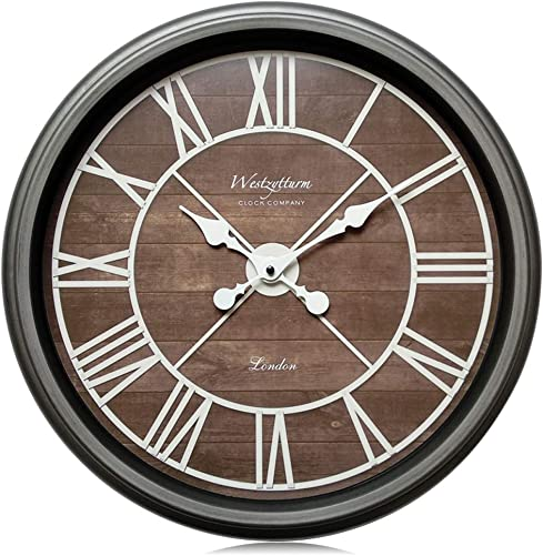 Westzytturm Large Wall Clock 18 inches Farmhouse Classic Modern Clock Wood Grain Decorative Roman Numeral Big Face Battery Operated Non Ticking Silent Clocks for Living Room Bedroom Office Metal Gray