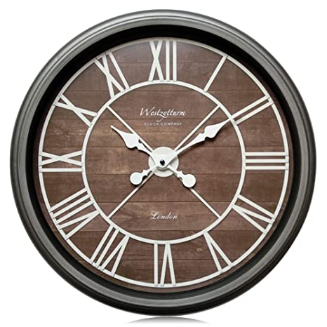 Westzytturm Large Wall Clock 18 inches Farmhouse Classic Modern Clock Wood  Grain Decorative Roman Numeral Big Face Battery Operated Non Ticking Silent  ...