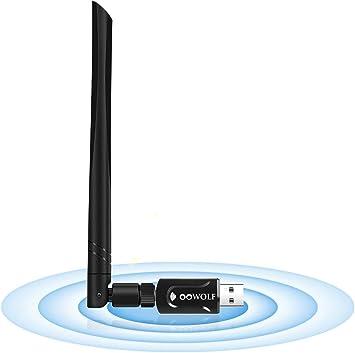 OOWOLF WiFi Adaptador De Red USB, AC 1200Mbps USB 3.0 Dongle 5dBi Dual Band 2.4GHz/5.8 GHz Antena Alta Ganancia, Soporte Windows XP/Vista / 7/8 / ...