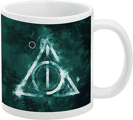 Harry Potter Deathly Hallows Logo White Mug Coffee Cups Mugs