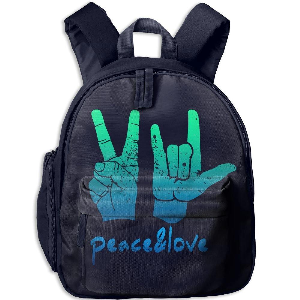 Mortimer Gilbert Vintage Peace Love Handprint Sign Kids School Bags Backpack Boys Girls Bookbag