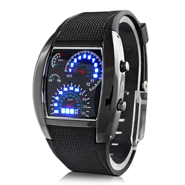 Digitale led herren armbanduhr mit gummiband (schwarz)